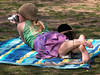 Colorful Photographer (Multielvi) Tags: photographer camera candid girl woman washington dc national mall bare feet park color