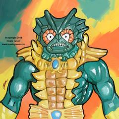 Merman MOTU Masters of the Universe Pop Art painting (Howie Green) Tags: masters universe motu beastman merman pop art paintings toys