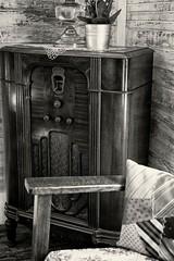 Entertainment Center (John Ilko) Tags: 500px antique vintage entertainmentcenter radio livingroom parlor chair fujifilm xe2 35mmf14 prime monochrome