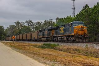 CSX O901-13 (T802-10) unloaded coal heads south on the Brooksville Sub near Land O Lakes, FL 1-13-18