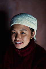Annapurna massif, Nepal (Alex_Saurel) Tags: portrait lips serviette beautifull beauté closeup portraiture posing portray asie culture 35mmprint scans pose asian dents lainepolairerouge towel people pinkwall redpolarjacket murrose asia nepali nosepiercing travel blackhair annapurnabasecamptrek imagetype reportage teeth photoreport photospecs yeux gurung abctrek cute beauty photoreportage gaze gazing eyes annapurnaconservationarea stockcategories photojournalism portraitserré day traditional népalaise time tradition grosplan nepal lifestyles sony50mmf14sal50f14