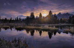 The greatness in humanity is not in being human but being humane (PhotoArt Images (mostly off)) Tags: photoartimages usa jacksonhole grandteton sunset reflections