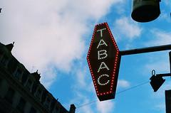 Tabac (Mondowski) Tags: canonftql canon analog analogphotography winter art streetphotography city portra800 tabac sign neon