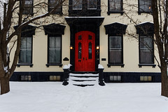 Stockade Facade (fotofish64) Tags: stockade stockadehistoricdistrict building architecture window door red reddoor color symmetry white snow winter snowfall schenectady downtownschenectady capitaldistrict newyork pentax pentaxart kmount k70 hdpentaxda1685mmlens outdoor historicdistrict historichouse