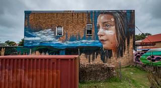 Matt Adnate's Wagana Dancer mural @ Waratah Street (Katoomba, Blue Mountains)