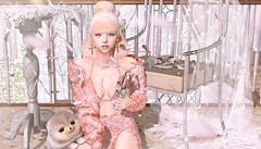 854 (Tomomi alpaca Homewood) Tags: beusy villena pewpew attic randommatter kustom9 pink petal halfdeer pomeranian puppy sweets lace