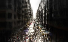 Hong Kong Market Street Overlay (Sami Shead) Tags: market hong kong chaos street buildings vanishing point skyscrapers urban