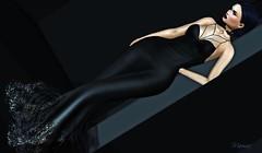 Black..like my soul (Marissa Almodovar Corleone) Tags: azul gown sl doll avatar black choker supernatural letter foxy hair elegance