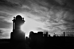 The Necropolis (Oddbod H) Tags: glasgow graves tombs monochrome bw blackwhite contrast light refraction shadow cemetery cloud