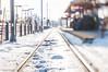 Where should we go? (m i c h e l e j e n s e n [photography]) Tags: winter snow tracks lensbaby publictransportation transportation lightrail train city minneapolis sports superbowl urban