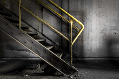 Moving up (Dennis van Dijk) Tags: abandoned forgotten decay derelict industry industrial factory paper europe eu ue urban exploration art lost found moody beauty control room stairs steel rust dust explorer yellow abstract detail urbex precious