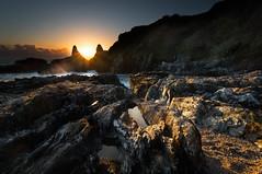 Mattiscombe Sunset 2 (pixelliott) Tags: sunset sea rocks rockpools cliffs reflections coast