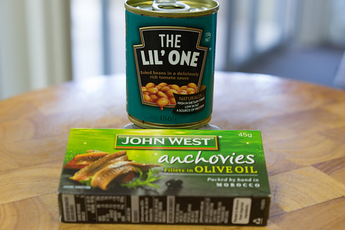 Anchovies and baked beans