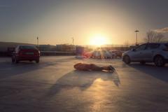 51/365 - (possessed2fisheye) Tags: possessed2fisheye scottmacbride scott creativeselfportrait creative creativephotography selfportrait self shootingintothesun sunset carpark parkingcars facedown 365 365project project365 2018 2018365project 365project2018