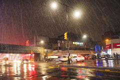 Spring Snow (Steven Bornholtz) Tags: global warming snow february spring new york city ny nyc us usa united states america getolympus olympus ep5 pen weather precipitation steven steve bornholtz djmidway midway dj photography imagery picture night shot reflections colorful outdoors time flushing queens
