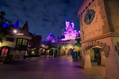 A Quarter Past Midnight at Sleeping Beauty Castle (TheTimeTheSpace) Tags: disneyland disneylandresort night clouds sleepingbeautycastle nikon nikond810 nikon142428