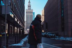 Spectators (ewitsoe) Tags: city buildings snow winter man crossing blurred canon eos 6dii 50mm street urban cold chilly warsaw warszawa polska grain fun