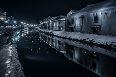 Otaru (ScottSimPhotography) Tags: otaru hokkaido japan japanese asia asian night nightscape nightshot city cityscape dark darkness travel tourism reflection reflections cold winter snow
