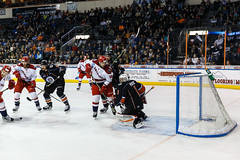 "Kansas City Mavericks vs. Allen Americans, February 23, 2018, Silverstein Eye Centers Arena, Independence, Missouri.  Photo: © John Howe / Howe Creative Photography, all rights reserved 2018 • <a style=""font-size:0.8em;"" href=""http://www.flickr.com/photos/134016632@N02/40500514391/"" target=""_blank"">View on Flickr</a>"
