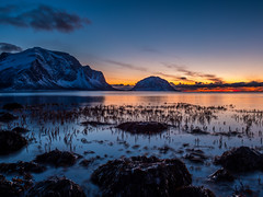 Mt. Skjeggen and Kunna in the sunset (frodekoppang) Tags: norway norwegianlandscape northernnorway meløy olympus olympus1240mm ocean longexposure sunset