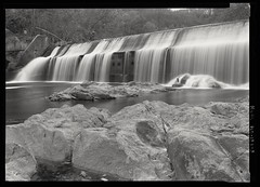 Bloede Dam (LeavenworthObey) Tags: maryland patapscoriver blueheron longexpoure bloededam water motion movement rocks largeformat ilfordfp4 analog 5x7 viewcamera linhofkardan zonesystem bw monochrome nationalparkservice heritagedocumentationprograms haer