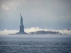 Liberty Island in fog (Goggla) Tags: nyc new york harbor weather fog cloud liberty island statue statueofliberty goglog