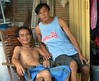 two men in a chair (the foreign photographer - ฝรั่งถ่) Tags: two men one cigarette wooden chair khlong lat phrao portraits bangkhen bangkok thailand nikon d3200