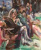 Woman in the station (Captain Wakefield) Tags: scene streets painting lady reading sitting contemporary crowd people colour figurative impressionist station expressionist burton samuel woman art