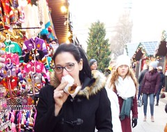 Hotdog.. Nina at the Christmas Market in Belfast December 2017 (sean and nina) Tags: nina christmas market belfast city centre public candid street photography woman female girl lady girlfriend fiancee wife happy amiling marries black duffle coat dress legs dm boots doc martens beauty gorgeous stunning amazing cute charm charming serb north northern ireland irish eu europe european aire glasses brunette long dark hair camer people persons outdoor outside model perfect december 2017 eating drinking smiling walking incredible pose posed posing unposed