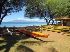 Lahana Canoe Club (PDX Bailey) Tags: orange blue green yellow boat tree grass water sky sea ocean beach hawaii maui travel vacation canoe club lahana cloud