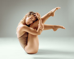 Anna (sauliuske) Tags: dancer ballerina woman young female body fit face portrait mood leotard pose balance