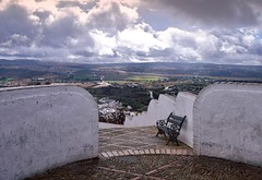 A view among the clouds (Jocelyn777) Tags: clouds bench mirador view viewpoint andalucia arcosdelafrontera villages whitevillages pueblosblancos spain travel