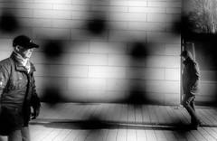Layer of walkers (A. Yousuf Kurniawan) Tags: screen layer shadow people walk walkway citywalk window blackandwhite cameraphone cameraphonestreet streetphotography monochrome minimalism minimalist geometric wall decisivemoment