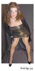 Shimmery (Amelie Kefa) Tags: femalemask realfleshmasks siliconmask crossdress tgirl legs pantyhose tights tightdress shortdress lycradress purse zentai wig highheels pumps
