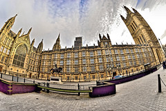Parliament (Geoff Henson) Tags: westminster parliament building fisheye tower structure security statue sky clouds 1000v40f