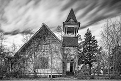 Still Beautiful After All These Years (Mike Schaffner) Tags: abandoned bw belfry belltower blackwhite blackandwhite bulb canontse24mmf35lii chapel church decay decayed derelict deserted dilapidated longexposure monochrome old ruins steeple tiltshift wood unitedstates us