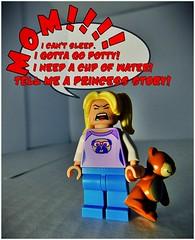 Go To Bed (LegoKlyph) Tags: lego custom mini figure girl kid bear stuffed mom sleep awake insomnia brat loud go bed nap shhhh brick block plastic