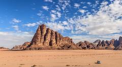 Wadi Rum, Jordan. (Aethelweard) Tags: shakaria aqabagovernorate jordan jo mountain sand sky vast stunning landscape scenery breathtaking beautiful panorama hot explore canon sandstone rocks travel scenic rural