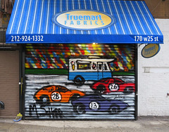Mister Softee (TheMachineStops) Tags: mistersoftee 2018 outdoor graffiti tagging nyc newyorkcity manhattan chelsea graffart mschorr racecars awning streetart urbanart