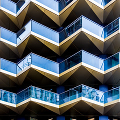 """Zig-A-Zig Ahhh (DobingDesign) Tags: """"luxuryliving"""" resi apartments residential architecture balconies angles zigzag abstract architecturaldetail abstractarchitecture london angular diagonals glass cladding lines geometric pattern repeatingpattern reflections futuristic modern building symmetry window"""
