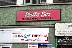 Butty Bar, Manchester, UK (Robby Virus) Tags: manchester england uk unitedkingdom britain greatbritain sandwich bar butty sign signage freshly made hilton aqua emporium