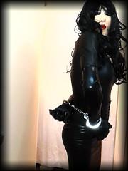 livingleatherdoll (living-doll-AU) Tags: livingdoll masker blackhair latex hobbleskirt cuffed goth bondage hot