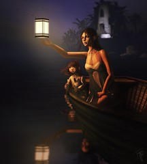 Blessed are the curious for they shall have adventures... (trendyandcoffee) Tags: secondlife sl painting photoshop art artist family love girl toddleedoo lights warm ocean beach splash valleverde night boat sailing relax contest