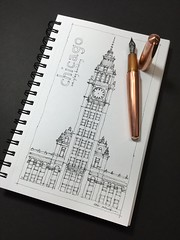 Building top series No.1 - Chicago (schunky_monkey) Tags: inkdrawing penandink ink pen fountainpen drawing draw sketching sketch art top building icon architecture illinois chicago wrigleybuilding