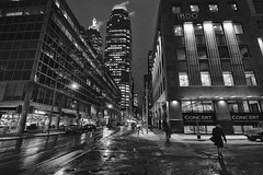Wellington St E (A Great Capture) Tags: agreatcapture agc wwwagreatcapturecom adjm ash2276 ashleylduffus ald mobilejay jamesmitchell toronto on ontario canada canadian photographer northamerica torontoexplore winter l'hiver city downtown lights urban night dark nighttime efs1018mm 10mm wideangle blackandwhite noiretblanc blancoynegro monochrome cityscape urbanscape eos digital dslr lens canon rebel t5i blackwhite bnw bw