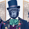 WELCOME TO THE JUNGLE, PALS! (DANI BLÁZQUEZ) Tags: ilustracion illustration dibujo dibujar animal animalillustration mono monkey chimpancé chimpanzee ape gentleman tophat jungle welcome pal plant palm coconut coconutpalm nature artdeco artnouveau decorative color graphite digital wacom cintiq graphicdesign poster print
