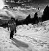 Snow Men 4 (Neil. Moralee) Tags: austria2018neilmoralee neilmoralee snao board snowboard snowboarding border goggles man mountain sky clouds contrast shadow walk steep carry list drag button trees black white bw bandw mono monochrome blackandwhite whiteandblack harsh nikon d7200 neil moralee snowman snowmen cold