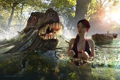 Beneath the surface (Mark Frost :)) Tags: sea lake stream monster creature dinosaur teeth claws jaws horror movie girl female woman swim swimming swimsuit trees sun sunshine light cg cgi 3d render daz studio