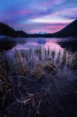 Sunrise at lake Hintersee (Simon.Ru) Tags: lake sunrise sun germany bavaria berchtesgaden hintersee red moody mountains clouds blue reflection snow winter cold ice frozen grass water trees wideangle 6dmarkii nature landscape seascape twilight