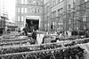 market (Paul Steptoe Riley) Tags: uk street photography monochrome blackandwhite london england leatherlane market clothesrail hangers garments van transit luton ec1